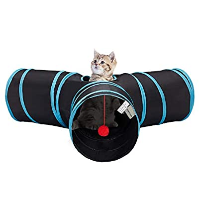 Tempcore Pet Cat Tunnel Tube Cat Toys 3 Way Collapsible, Cat Tunnels for Indoor Cats,Kitty Tunnel Bored Cat Pet Toys Peek Hole Toy Ball Cat, Puppy, Kitty, Kitten, Rabbit,Blue by TEMPCORE