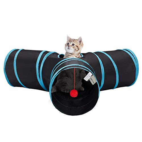Tempcore Pet Cat Tunnel Tube Cat Toys 3 Way Collapsible, Cat Tunnels for Indoor...