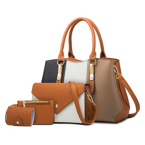 LUOWAN Bolsos Mujer Grandes Cuero Bandolera Tote Bolso Para Mujer Shopper Señora Tote Bolsos de Mano 4pcs Set (Marrón/Negro)