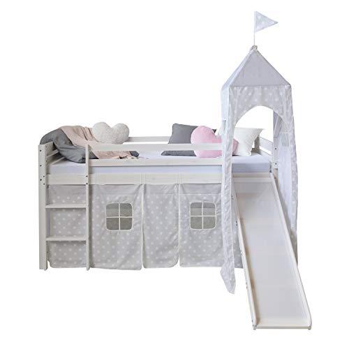Homestyle4u 1886, Hochbett Weiß 90x200 Kinder Mit Rutsche Leiter Turm Sternen Vorhang, Holz