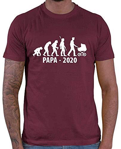 HARIZ Herren T-Shirt Papa 2020 Evolution Papa Vatertag Baby Inkl. Geschenk Karte Wein Rot M