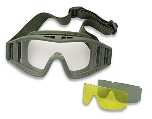 Gafas 3 Lentes Intercambiables Anti-Vaho tacticas, Militares, Caza, Pesca, Camping, Outdoor, Supervivencia y Bushcraft Albainox 35761 + Portabotellas de regalo