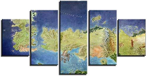 SESHA Juego Mapa Todos Los Reinos Impreso Pintura Al Óleo Decoración 5 Piezas(Sin Marco)