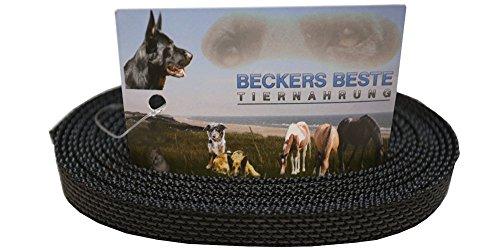 Beckers Beste Tiernahrung Hundeleine ohne Schlaufe gummierte Hundeleine   gummierte Arbeitsleine   Führleine   Trainingsleine   Signal Farben   Langlebig und sehr robust (200 cm x 16 mm, Schwarz)
