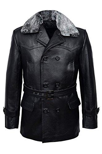 Pois Allemand Manteau Noir Furr Men's Classic Reefer Masquer Militaire Veste en Cuir (XXL)