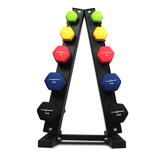 Fitness Republic Solid Steel Dumbbell Rack Holder, A-Frame Dumbbell Storage Racks, Free weights stand for home gym exercise, Neoprene Dumbbells Pairs (3lb, 5lb, 8lb, 10lb, 12lb) with 5 Tier Rack Combo