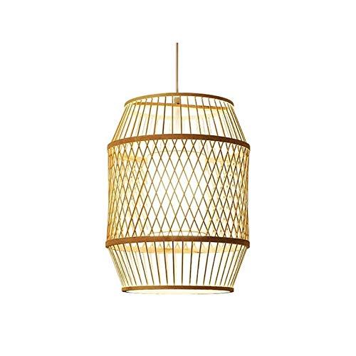 Wlgt Tatami de estilo japonés Pantalla de ratán Luces colgantes Celosía cilíndrica Candelabro de bambú tropical Candelabro de ratán natural Lámpara colgante Iluminación de la casa de té Linterna de mi
