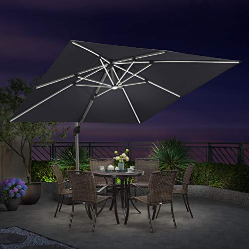 PURPLE LEAF 10 Feet Double Top Deluxe Solar Powered LED Square Patio Umbrella Offset Hanging Umbrella Outdoor Market Umbrella Garden Umbrella, Grey