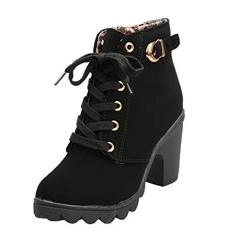 Botines Mujer Tacon Alto 2019 Zapatos Plataforma Hebilla Zapatos de Cordones Cuero Vintage Otoño Invierno Comodos Botas Cortas 35-40 riou