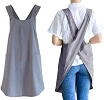 losofar Soft Cotton Linen Apron Cross Back X-Shaped Japanese Style Pinafore Dress for Cooking, Housewarming, Daily...