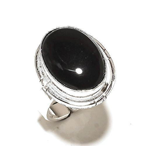 Black ONYX! Exotic RING! Party Wear, Silver Plated! HANDMADE Jewelry Art! All Variety Store Ring Size 6 US (Adjustable)