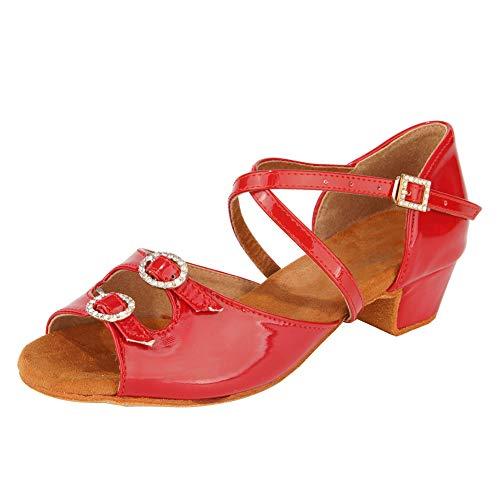 SWDZM Zapatos de Baile Latino Mujer Salsa Bachata Zapatos de Baile de Salon,Tacón-3cm,Modelo-WHD26,Rojo, 38EU