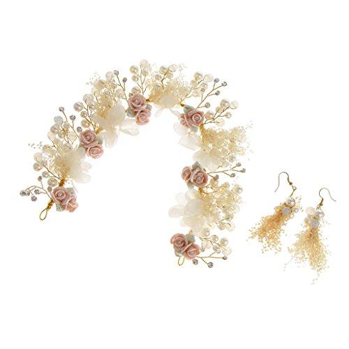Vintage Haarschmuck mit Ohrschmuck Set, Stirnband Perlen Haardraht Kristall Kopfband Blumen Haarschmuck mit Blumen Perlen Ohranhänger, geeignet für jeden Abendkleid