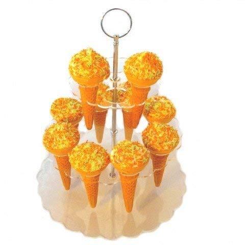 Creations Cornet de crème glacée Stand (16 Support de cône pour Glaces, Pop-Corn, Bonbons & Savorys), Clair Acrylique