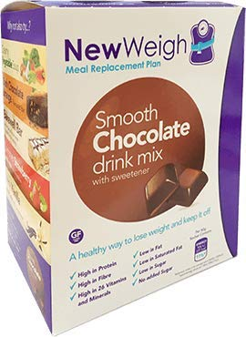NewWeigh Smooth Chocolate Meal Replacement Shake, 7 x 60g sachets - Suitable for Coeliacs & Vegetarians - High Fibre & High Protein