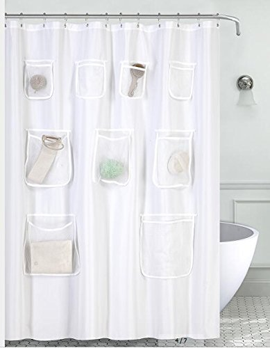 Water-Repellent Fabric Shower Curtain or Liner with 9 Handy Mesh Pockets 71 x 72 inches, White, Odorless, Washable and Rust Proof Grommets
