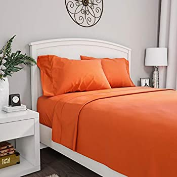 Lavish Home Orange Brushed Microfiber Set-4 Piece Bed Linens-Fitted & Flat Sheets 2 Pillowcases-Wrinkle Stain & Fade Resistant Queen