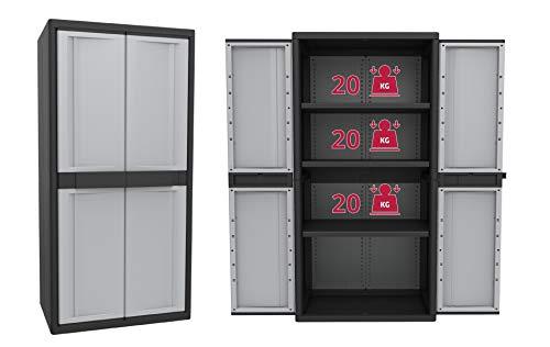 Kreher Aktions-Set: 2 XXL Kunststoffschränke, ca. 90 x 54 x 180 cm, mit höhenverstellbaren Böden und abschließbaren Türen
