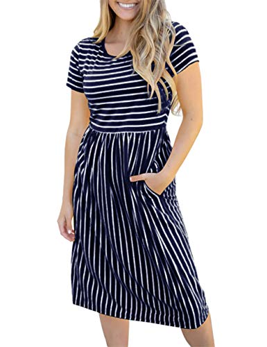 MEROKEETY Women's Summer Striped Short Sleeves High Waist Casual T Shirt Midi Dress