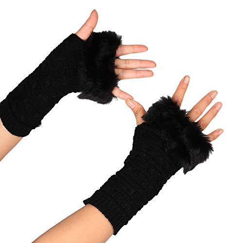 Asudaro Frauen Mädchen Armwärmer Armstulpen Faux Pelz Winter Warm Fingerlose Fäustlinge Handwärmer Wrist Warmers Stulpen Armmanschette Halbfingerhandschuhe