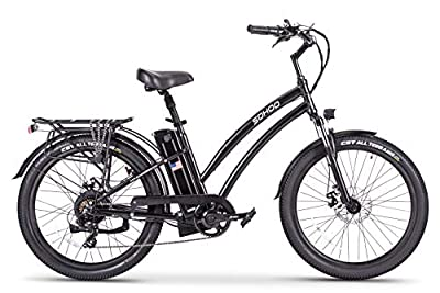 "SOHOO 48V500W12Ah 26"" Adult Step-Thru Beach Cruiser Electric Bicycle City E-Bike Mountain Bike (Black)"