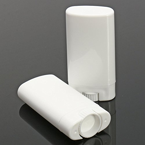 LYYCEU 10pcs VID VIDS Blanc Contenants désodorants Rechargeables Ellipse Baume à lèvres Twist UP Tube avec Capuchons de Couvercle