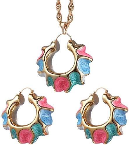 BACKZY MXJP Necklace Fashion Earrings for Women Jewelry Set Colorful Round Spiral Pendant African/Nigerian Necklace Jewelry Accessories Length 45Cm Chain Necklace