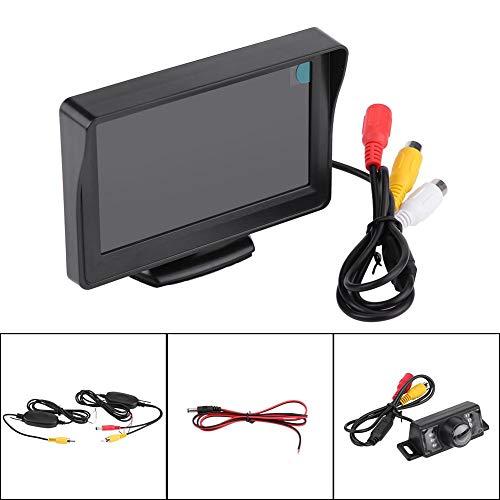 Auto draadloze digitale achteruitrijcamera set, 4,3 inch draadloze LCD-monitor voor de auto en 6 LED achteruitrijcamera kit, 2-kanaals videoingangen, kan met achteruitrijcamera's, dvd's, VCD enz. worden aangesloten