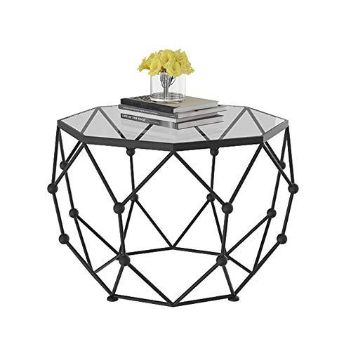 Muebles para el hogar, mesa auxiliar, mesa auxiliar octogonal de metal de diseño moderno con vidrio templado,mesa de centro para sala de estar, tapa de vidrio transparente,25.9