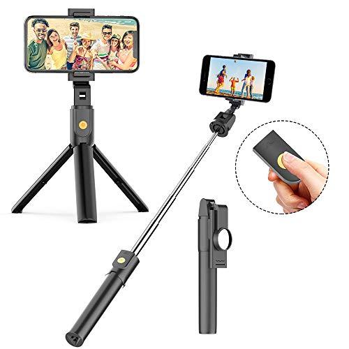 FAPPEN Bastone Selfie Treppiede, 3 in 1 Selfie Stick Bluetooth Estensibile Rotazione a 360 ° con Telecomando per iPhone XS/X / 8 / Samsung S9 / S8 / Huawei P20 / P10 e Altri Android e iOS (B-Black)