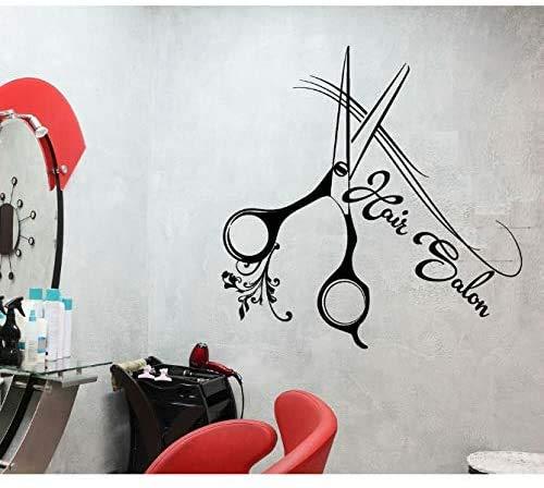 Peluquería Vinilo Pegatinas De Pared Para Salón De Belleza Corte De Pelo Tijeras Reparto De Pared Extraíble Arte Mural Cartel 42X42 Cm