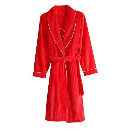 WEI-LUONG Parejas Unisex del Traje otoño y del Invierno de los Hombres y Las Mujeres de Largo Albornoces Polar de Coral Pijama de Franela roja Bata súper Blando Homewear, Hombres, XXL japonés
