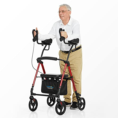 Health Line Massage Products Up Rollator Walker, Up Rollator with Armrest,Tall Folding Walker with Wheels,Up Rollator with Armrest and Seat Rolling Walker for Seniors and Adults, Red