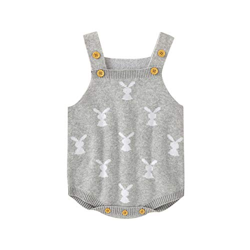 Baby Girl Boy Easter Bunny Romper Sleeveless Knitted Bodysuit Jumpsuit My 1st Easter Outfit Cute Clothes (Rabbit Onesie- Grey,0-6 Months)
