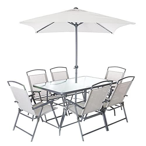 Set tavolo con 6 sedie e ombrellone da esterni, in ferro Grigio