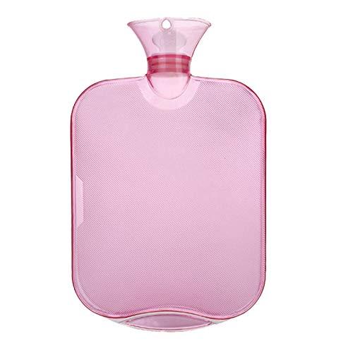 QINGXI Botellas de Agua Caliente con Fundas Tejidas, Premium Rubber para calambres y Alivio del Dolor con 1 Cubiertas de Punto Rápido, Tapa de la Botella de Punto, 2 LPink