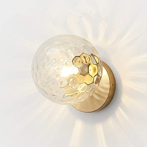 Spotlight Wall Modern Glas Ball leidde wandlamp Bedroom Mirror verlichtingsarmaturen Indoor bedlampje, Lichtbron: 12W LED Neutral Light (Copper + 15cm Wit glazen kap).