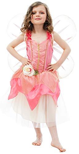 Tuinfeekostuum met vleugels voor meisjes - roze - sprookjes elfje vlinder kinderbekleding carnaval