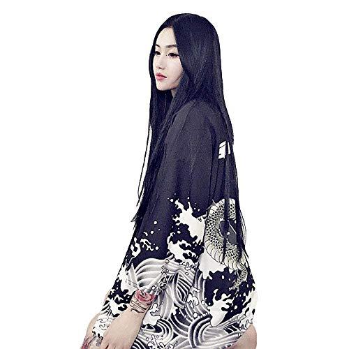G-like Japanische Kimonos Damen Kleiung - Traditionell Haori Kostüm Robe Tokio Harajuku Drachen Muster Antik Jacke Nachthemd Bademantel Nachtwäsche (Schwarz)