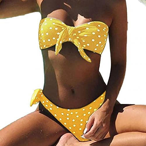 Bañador Escote en V Traje de Baño de Una Pieza,Traje de baño con estampado de puntos de 2piezas,sujetador sin tirantes acolchado con bragas Bikini Set-Yellow_M,Bikini Mujer Conjunto Sexy Cuello en V