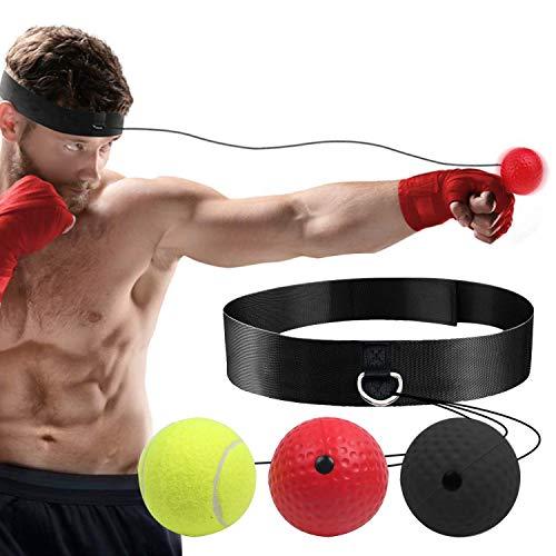 HENGBIRD Pelota reflectante de boxeo, adecuada para adultos y niños, para entrenamiento de reflexión, reacción y coordinación ojo-mano (3 pelotas + 2 cuerdas de repuesto)