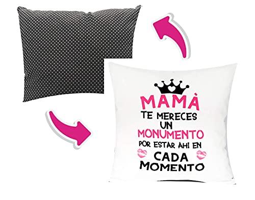 Pack Regalo MAMÁ Cojín 35 x 35 cm + Taza 350 ml . Incluye Relleno Regalo para EL Dia DE Las Madres Desayuno Original Dia De La Madre (COJIN +Taza Mama TE MERECES)