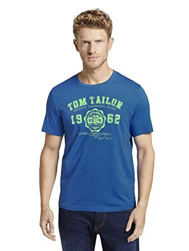 TOM TAILOR Herren T-Shirts/Tops T-Shirt mit Logo-Print Victory Blue,S