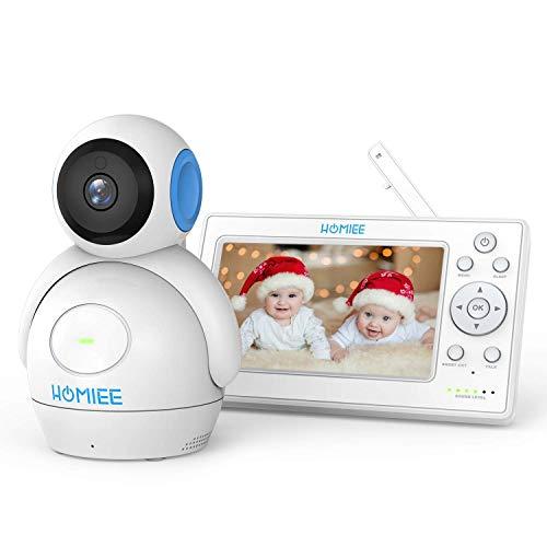 Video Babyphone,HOMIEE 2.0 Babyphone 360°Baby Kamera,5 Zoll LCD Monitor und 300m 2,4GWireless Verbindung, Ton und Temperaturalarm, Nachtsicht, Wiegenlied und Zweiwege Audio, Upgrade Version