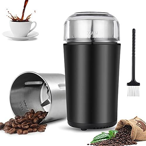 MEIJUBOL Elektrische Kaffeemühle 400W 100G Gewürzmühle Abnehmbare Kaffeemühle Waschbar 304 Edelstahlbehälter Kapazität 4 Klingen Liner Bohnen Gewürze Körner Leicht,Schwarz