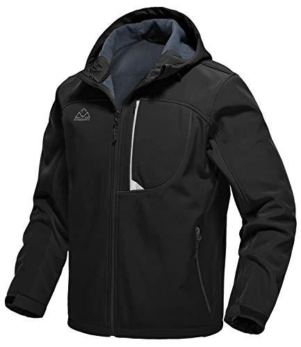 donhobo Chaqueta de softshell para hombre, forrada, cálida cremallera, chaqueta de ocio al aire libre, impermeable, chaqueta de senderismo con capucha, Negro , L