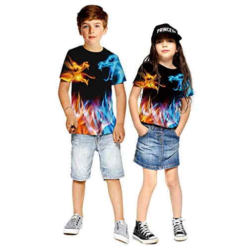 Anglewolf Jungen Mädchen T-Shirt 3D druckte grafisches T Shirt Kinderjugend Kurzarm T-Shirts 9-15 Jahre Unisex Tshirt 3D Drucken Sommer Beiläufige Grafik Kurzen Ärmeln (B Schwarz,L)