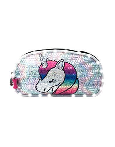 Footy   Neceser para Niñas   Estuche con 2 Cremalleras  Lentejuelas Estapadas y Luz Led Blanca   Color Plateado   Línea Unicornio