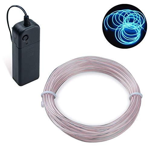 COVVY Cable LED Tira de Luces de Neon Flexible de Alimentado 3 Modos de Funcionamiento, Decoracin de Coche, Fiestas, Disfraz de Carnaval (Azul helado, 3M)