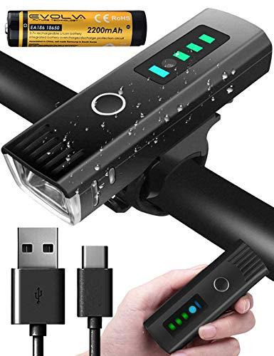 Evolva Future Technology Bike Light USB Rechargeable Bicycle Light Bike Headlight Front Cycling Mountain Bike Light LED 1000 lumens 2200mAh Battery Waterproof IP65